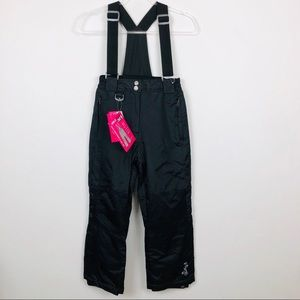 Weatherproof 32 Degress Black Snow Bibs Girls M